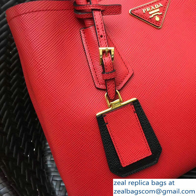 ... sweden prada two tone handles saffiano double leather bag 1bg775 red black  2018 larger image. c7c60a5db58ed