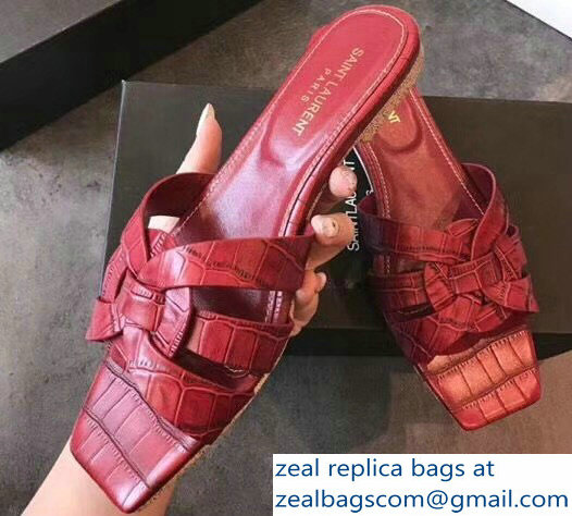 Saint Laurent Nu Pieds 05 Intertwining Straps Slide Sandals 472064 Croco Pattern Red 2018
