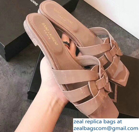 9e9a429a9bff2 Saint Laurent Nu Pieds 05 Intertwining Straps Slide Sandals 472064 Patent  Nude 2018