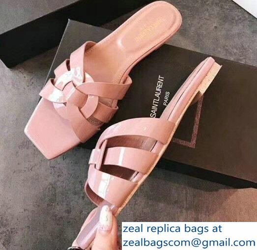 0cbd6bf63d2 Saint Laurent Nu Pieds 05 Intertwining Straps Slide Sandals 472064 Patent  Nude Pink 2018