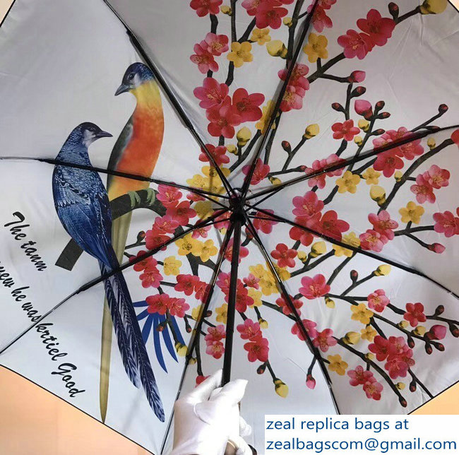Versace Bird and Flower Umbrella White