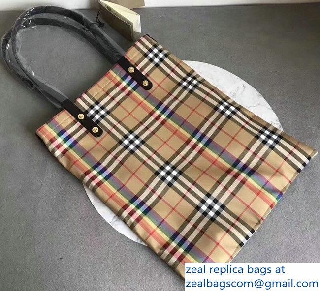 0392a796fc3 Burberry Rainbow Vintage Check Medium Shopper Tote Bag Black 2018 ...