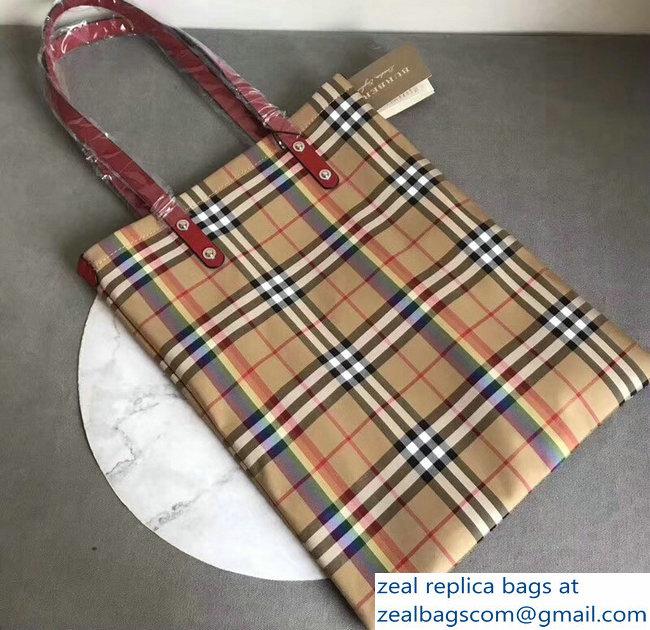 1e9d01a5ab9 Burberry Rainbow Vintage Check Medium Shopper Tote Bag Red 2018 ...