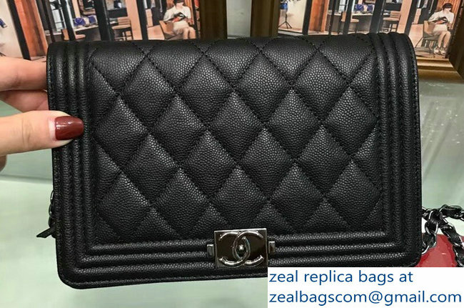 Chanel Boy Wallet On Chain WOC Bag In Caviar Leather Black