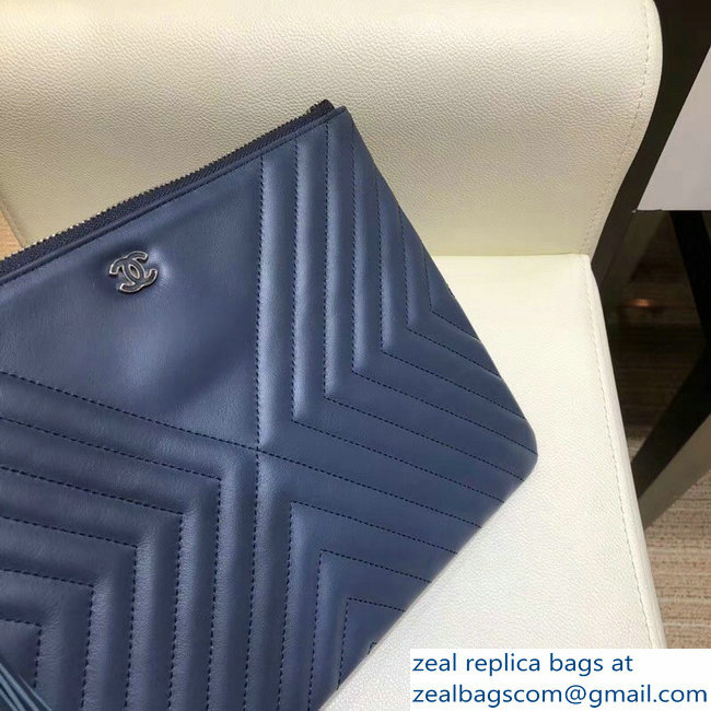 5f48d9d44fb0 Chanel Fringe Calfskin Pouch Clutch Bag A84469 Navy Blue 2018   www ...