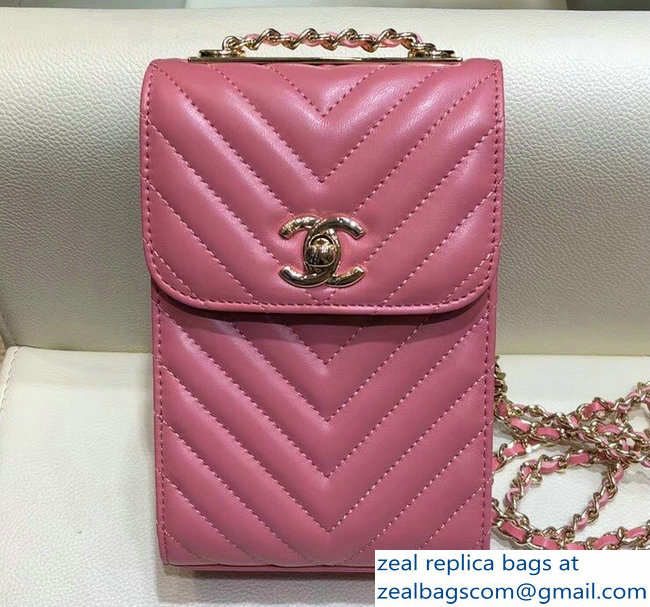 Chanel Lambskin Chevron Trendy CC Phone Holder Pouch Bag Peach with Chain  2018 e75b831edfb7d