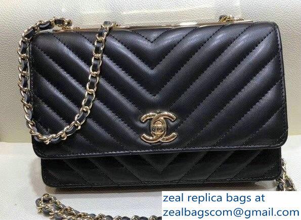 Chanel Lambskin Chevron Trendy CC Wallet On Chain WOC Bag A84456 Black 2018 cf947ef09ab18