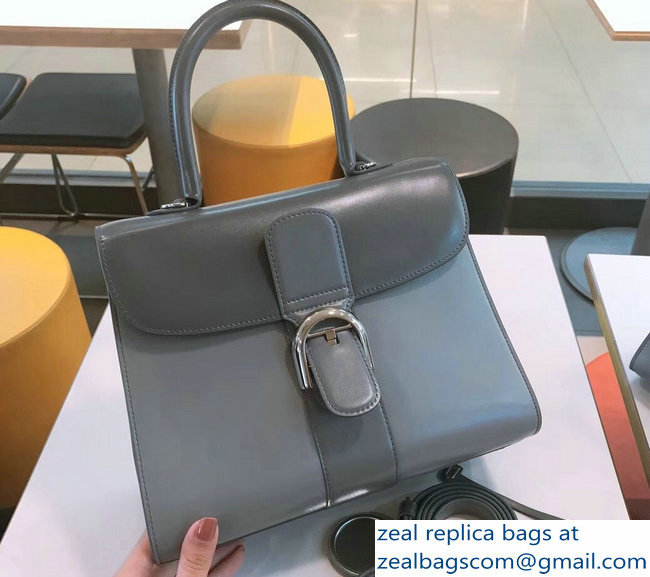 Delvaux Brillant Medium Tote Bag In Box Leather Gray/Light Gray