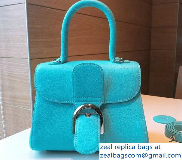 Delvaux Brillant Small Tote Bag In Box Leather Turquoise