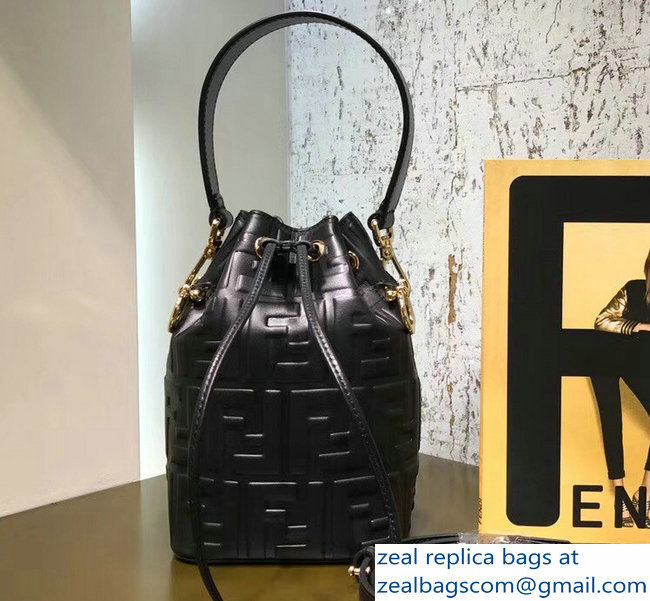 0fde231561 Fendi Embossed FF Mon Tresor Leather Bucket Mini Bag Black 2018 ...