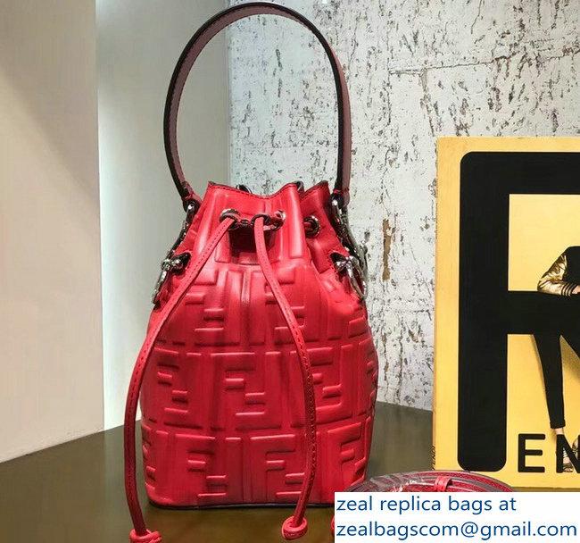 Fendi Embossed FF Mon Tresor Leather Bucket Mini Bag Red 2018 791e179daca86