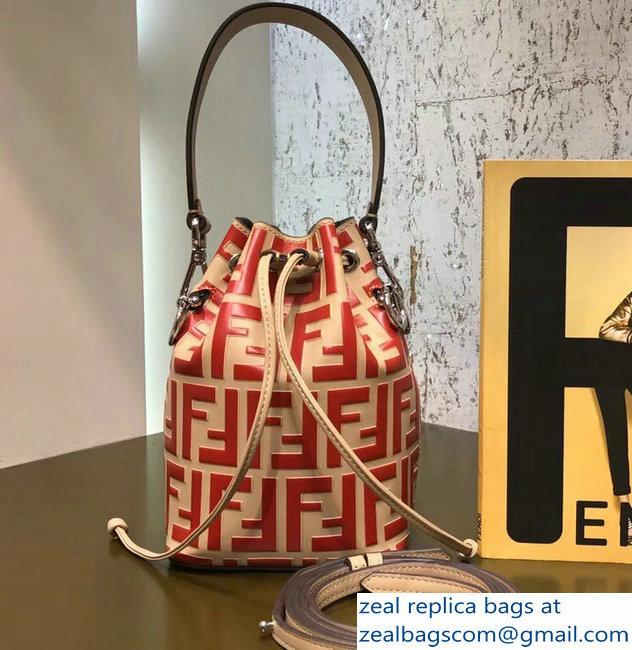47d330c383 Fendi Mon Tresor Leather Bucket Mini Bag FF Logo Beige Red 2018 ...
