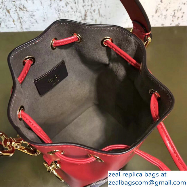 Fendi Mon Tresor Leather Bucket Mini Bag Python Heart Red 2018   www ... 5ba977007b4d9