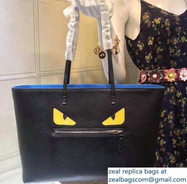 454f24d2e6ac Fendi Roll Shopper Shopping Tote Bag Bugs Eyes Black Blue   www ...