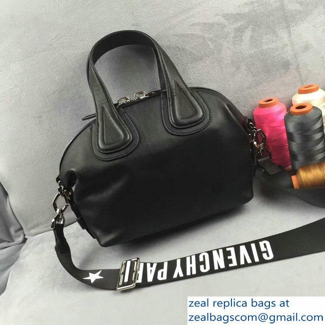 Givenchy Nightingale Micro Mini Tote Top Handle Bag Logo Strap Black ... 2ad9947489d6c