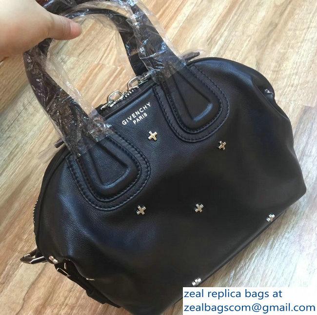 Givenchy Nightingale Micro Mini Tote Top Handle Bag Silver Cross Black 1576c09062cb8