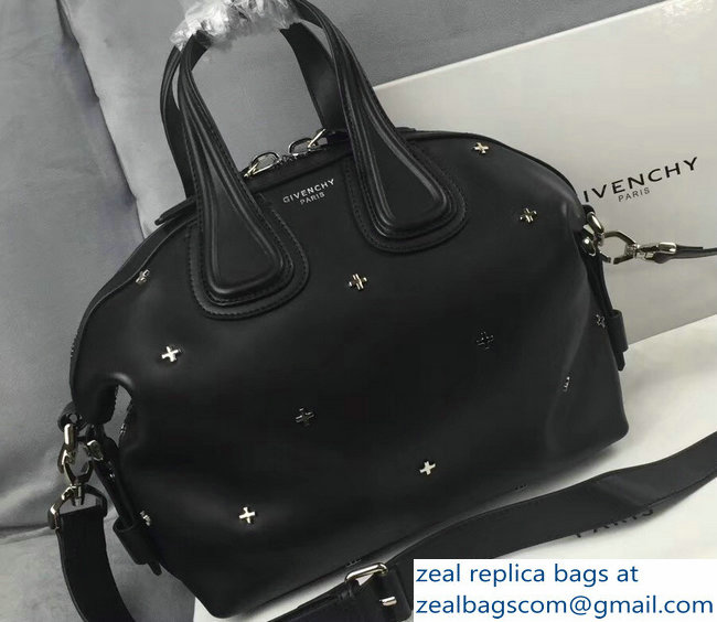 Givenchy Nightingale Micro Mini Tote Top Handle Bag Smooth Leather Silver  Cross Black af69b2895c583