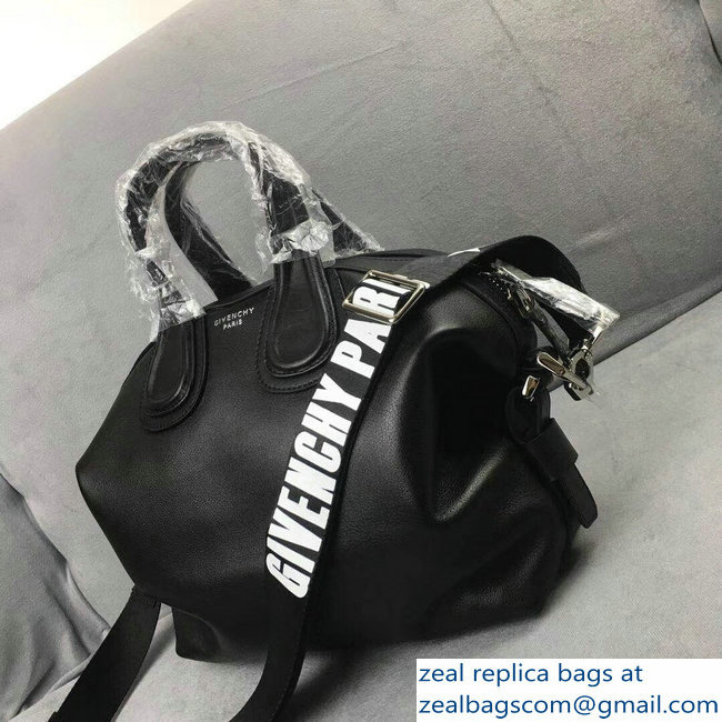 Givenchy Nightingale Small Tote Top Handle Bag Logo Strap Black ... 60938d16b6068