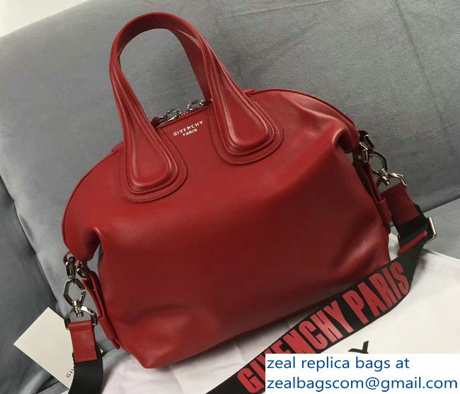 52eff8e5fe Givenchy Nightingale Small Tote Top Handle Bag Logo Strap Red   www ...