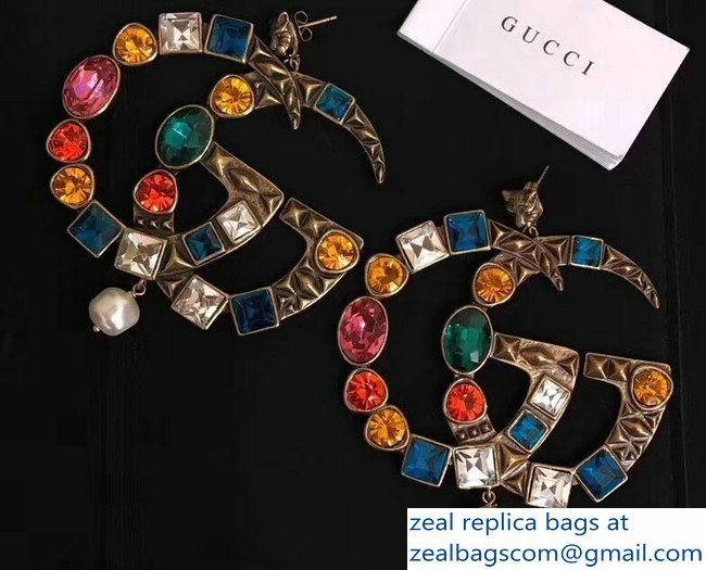 Gucci Multicolor Crystal Double G Earrings 2018
