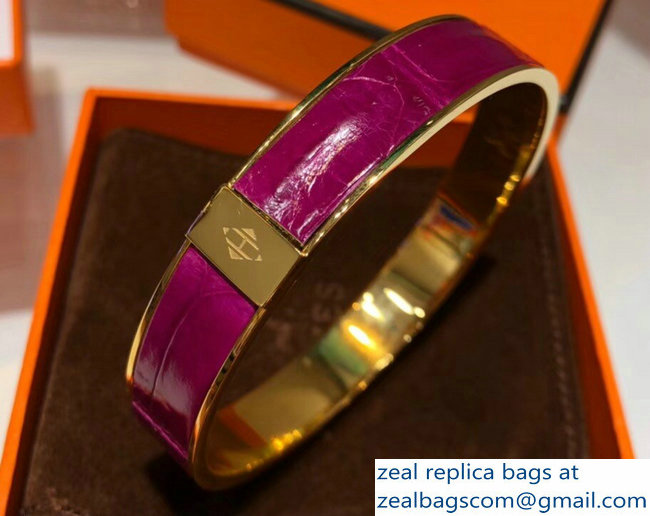 Hermes Crocodile Kawaii Wide Bracelet Purple
