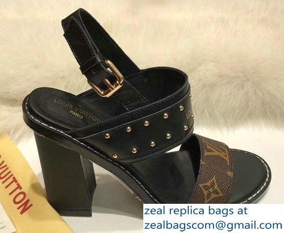 be75d868500 Louis Vuitton Monogram Canvas and Golden Studs Heel 9.5cm Nomad Sandals  Brown 2018