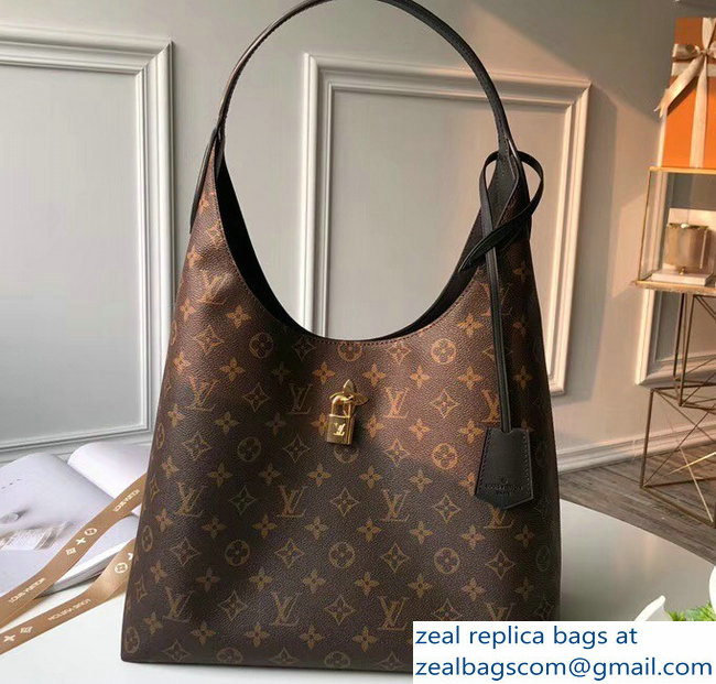 Louis Vuitton Monogram Flower Padlock Hobo Bag M43545 Noir 2018