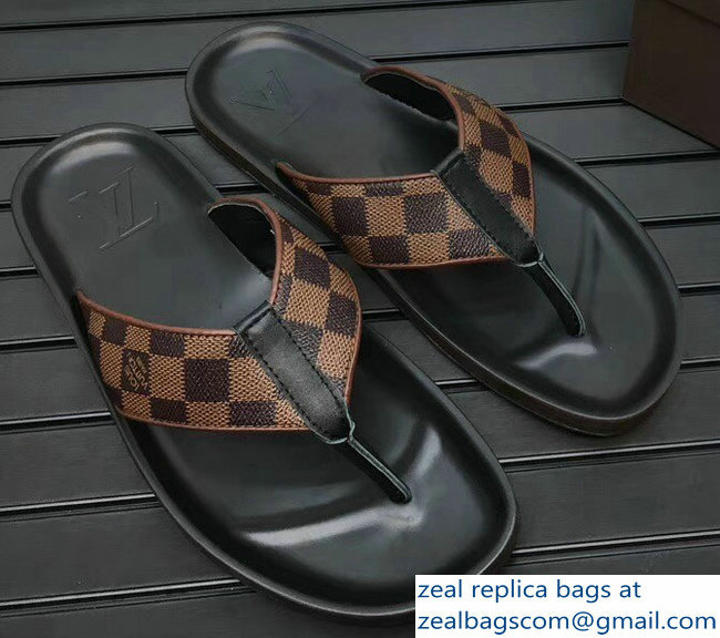 cfe0cc9af9dea2 Louis Vuitton Thong Men s Slipper Sandals Damier Ebene Canvas 2018 ...