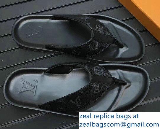 6e554dd27bba83 Louis Vuitton Thong Men s Slipper Sandals Monogram Eclipse Canvas 2018