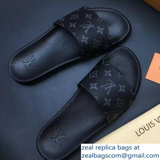 23d7276478585d Louis Vuitton Waterfront Mules Men s Slipper Sandals Monogram Eclipse  Canvas 2018