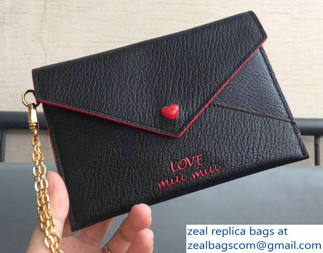 Miu Miu Madras Leather Envelope Chain Pouch Bag With Love Logo 5MF001 Black 2018