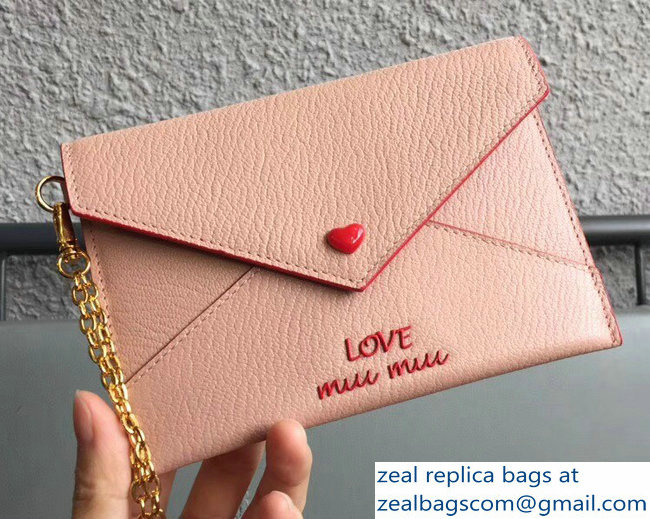 Miu Miu Madras Leather Envelope Chain Pouch Bag With Love Logo 5MF001 Nude 2018
