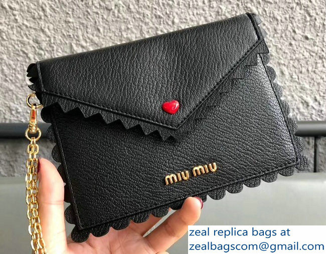 Miu Miu Madras Leather Wave Envelope Chain Pouch Bag With Love Logo 5MF001 Black 2018