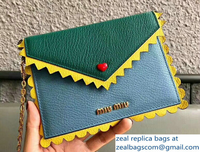 Miu Miu Madras Leather Wave Envelope Chain Pouch Bag With Love Logo 5MF001 Light Blue/Yellow/Green 2018