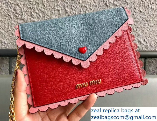 Miu Miu Madras Leather Wave Envelope Chain Pouch Bag With Love Logo 5MF001 Red/Pink/Light Blue 2018