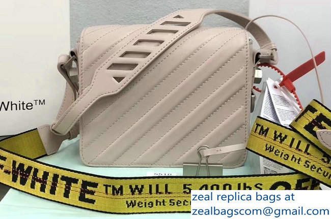 Off-White Diagonal Padded Binder Clip Shoulder Bag Beige 2018