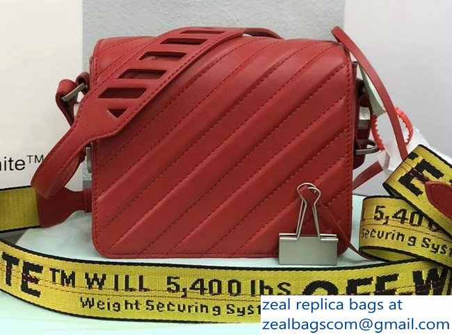 Off-White Diagonal Padded Binder Clip Shoulder Bag Red 2018