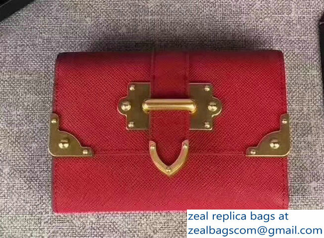Prada Cahier Leather Decorative Hardware Flap Wallet 1MH840 Red 2018