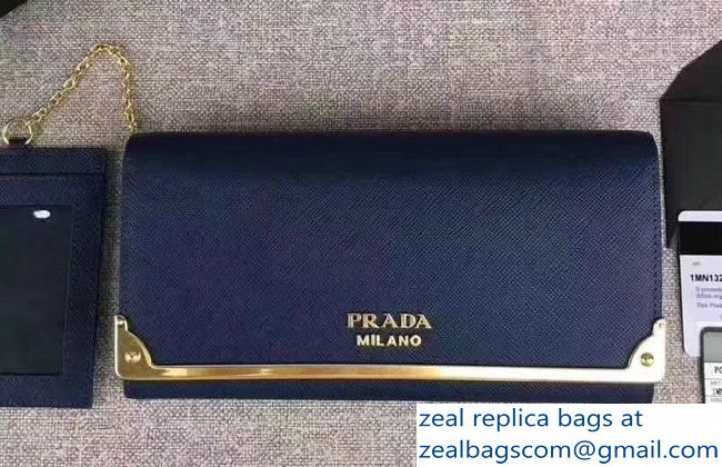Prada Cahier Leather Flap Wallet 1MH132 Dark Blue 2018