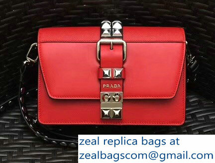 582ffd0983 Prada Elektra Calf Leather Shoulder Small Bag 1BD121 Red 2018   www ...