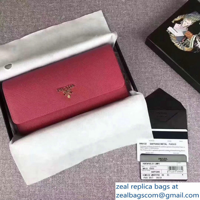 6393e694d8d6 Prada Saffiano Leather Flap Wallet 1MH132 Peach Multi-colored   www ...
