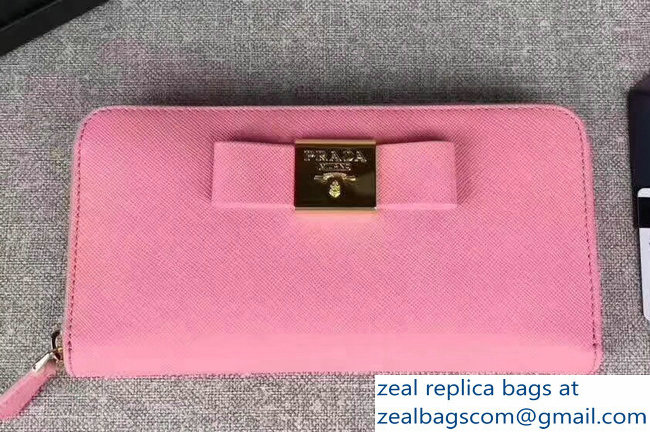 Prada Saffiano Leather with Metal Bow Zip Wallet 1ML506 Pink 2018