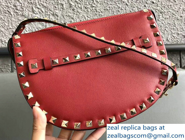 Valentino Rockstud Calfskin Clutch Cosmetic Bag 0874 Red 2018