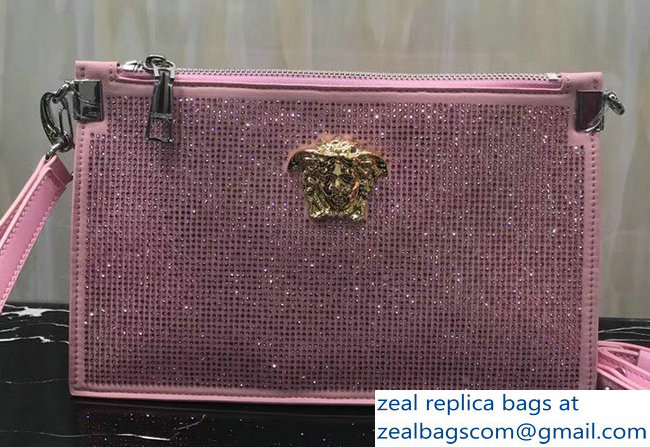 Versace Crystal Embellished Medusa Pouch Clutch Bag Pink   www ... d4eca66fbc661
