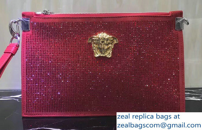 Versace Crystal Embellished Medusa Pouch Clutch Bag Red