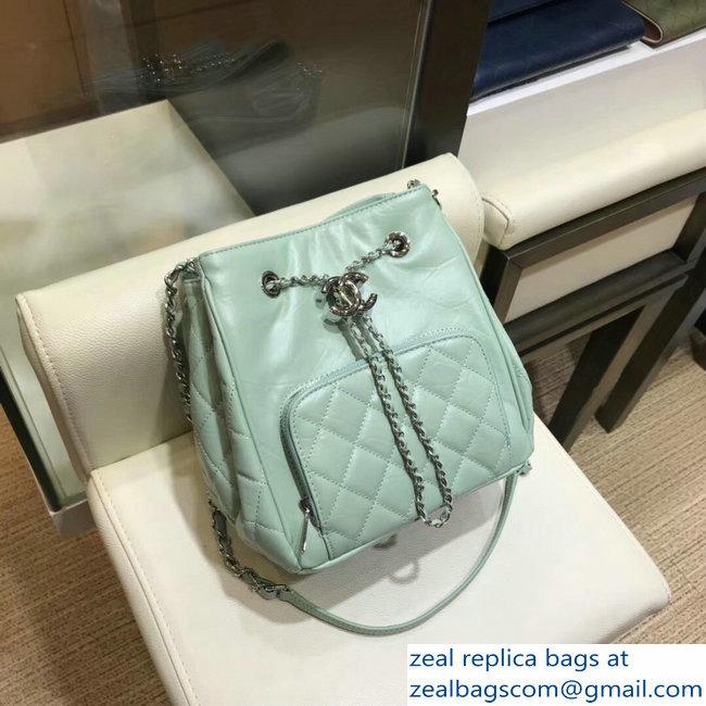 7ff35a9ff0b8 Chanel Aged Calfskin Small Drawstring Bucket Bag A57818 Light Green 2018
