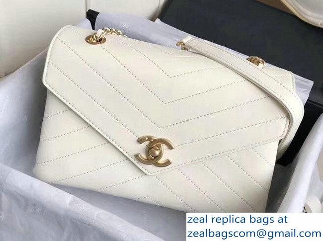 Chanel Chevron Chic Lambskin Gold-tone Metal Small Flap Bag A57431 White  2018 9c827ac49f133