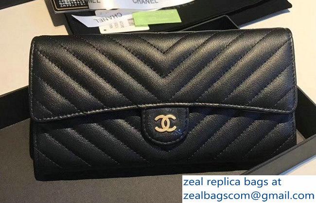 6d0deaf3780b Chanel Lambskin Double Folded Passport Holder In Black (Gold)   www ...