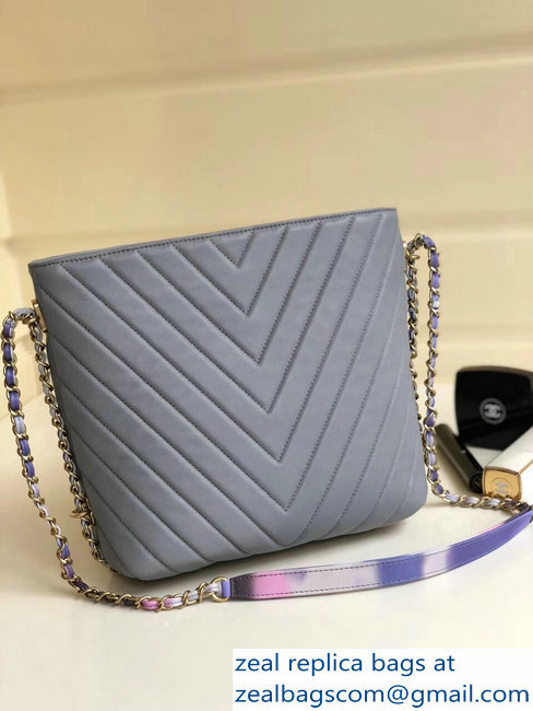 818d8187023 Chanel Chevron Multicolor Chain Bucket Bag Gray 2018   www.zealbag.ru