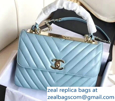 Chanel Chevron Trendy CC Small Flap Top Handle Bag A92236 Light Blue 2018